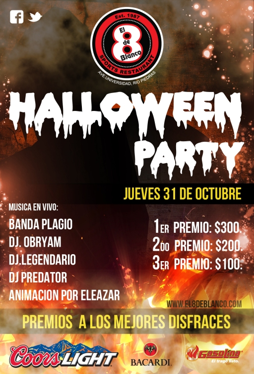 8 de blanco halloween party flyer